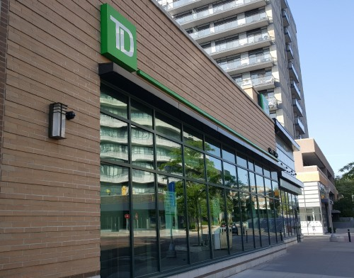 TD Bank or TD Canada Trust is one of the major banks in Canada.  They have a good reputation for being open late which is actually helpful for people working odd hours.