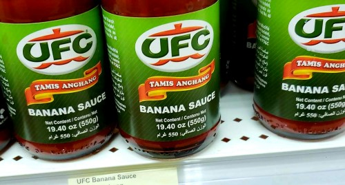 UFC Banana Sauce Ketchup.    No this is not the official ketchup of the UFC Ultimate Fighting Champion type.  But it tastes great.  Made from healthy bananas of the Philippines,  it makes a great tomatoe ketchup alternative.  It's sweet like tomato ketchup but not as sour.  The filipinos like to use it to make filipino style spaghetti.  Yummy!!