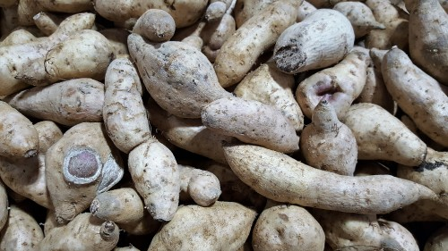 Yam is starchy and dry. When it is cooked it is firm.
