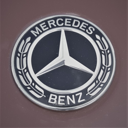 Mercedes Benz emblem. According to the company, the three points represent the automaker's drive toward universal motorization with its engines dominating the land, sea, and air.