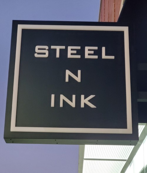 Steel N Ink signage at CF Shops at Don Mills, Toronto, Ontario Tattoos and Piercing Address: 41 Clock Tower Rd, North York, ON M3C 0G4